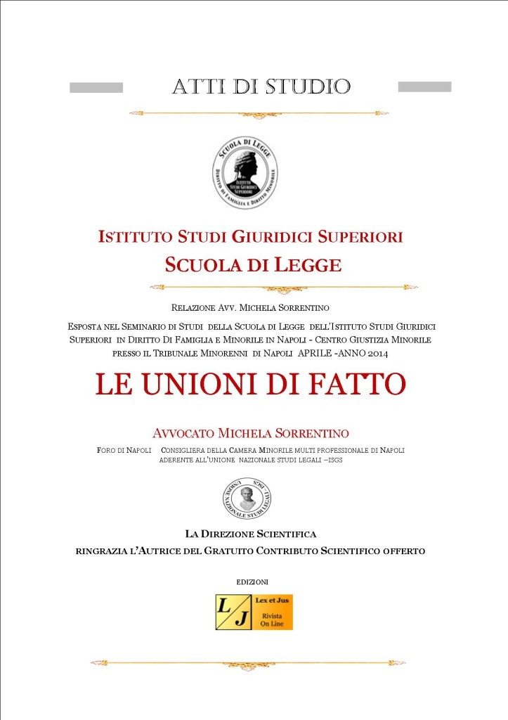 ATTI DI STUDIO ISGS - UNIONI DI FATTO di Avv. Michela Sorrentino