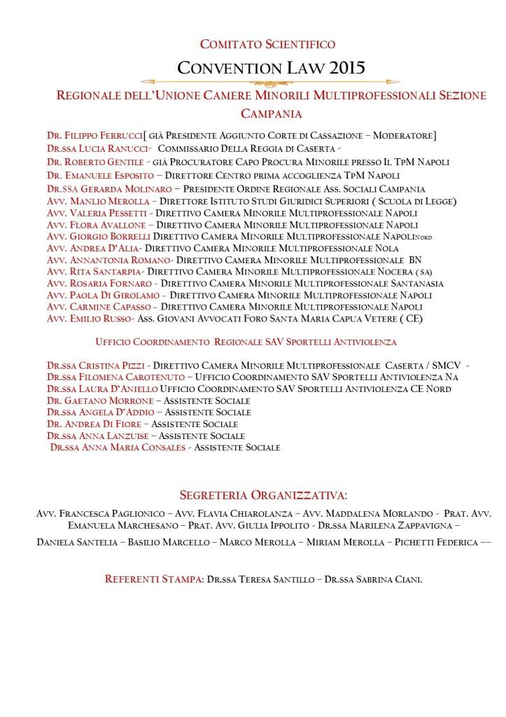 COMPOSIZIONE  COMITATO SCIENTIFICO  CONVENTION LAW 2015 Apub