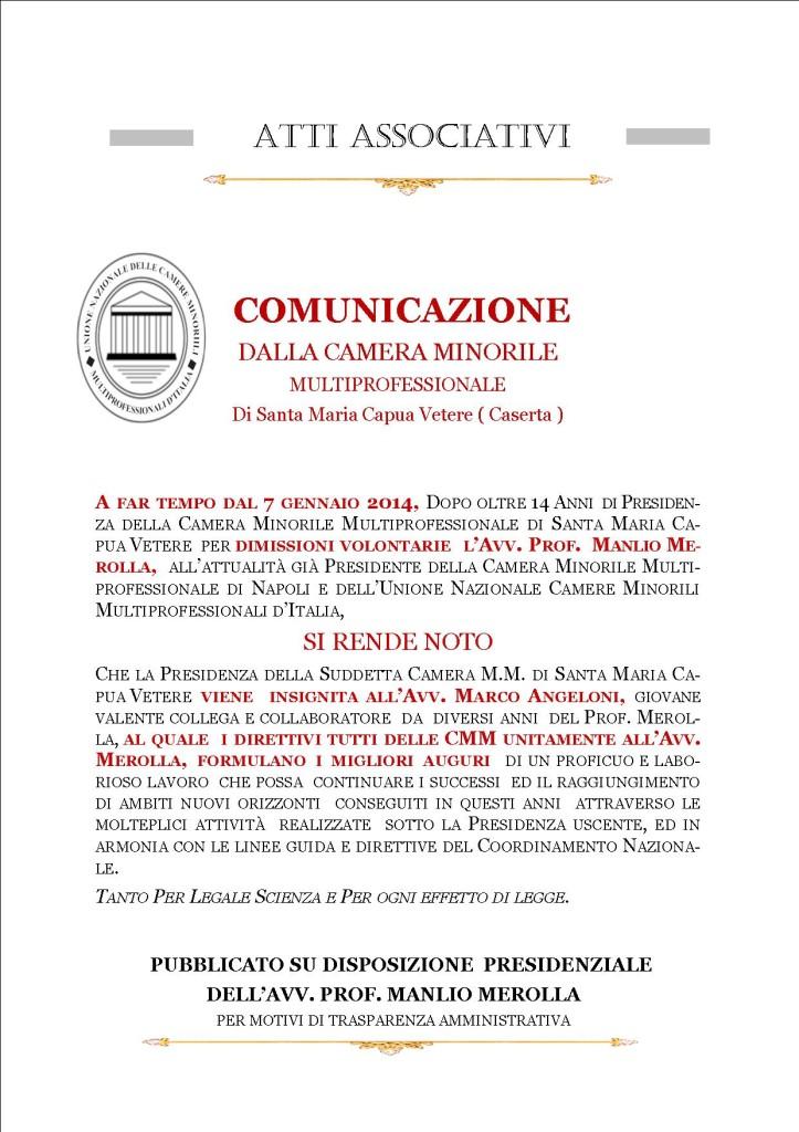 COMUNICAZIONE UNIONE NAZIONALE  CAMERE MINORILI MULTIPROFESSIONALI  PASSAGGIO PRESIDENZA CMM SANTA MCV 06 gennaio 2014