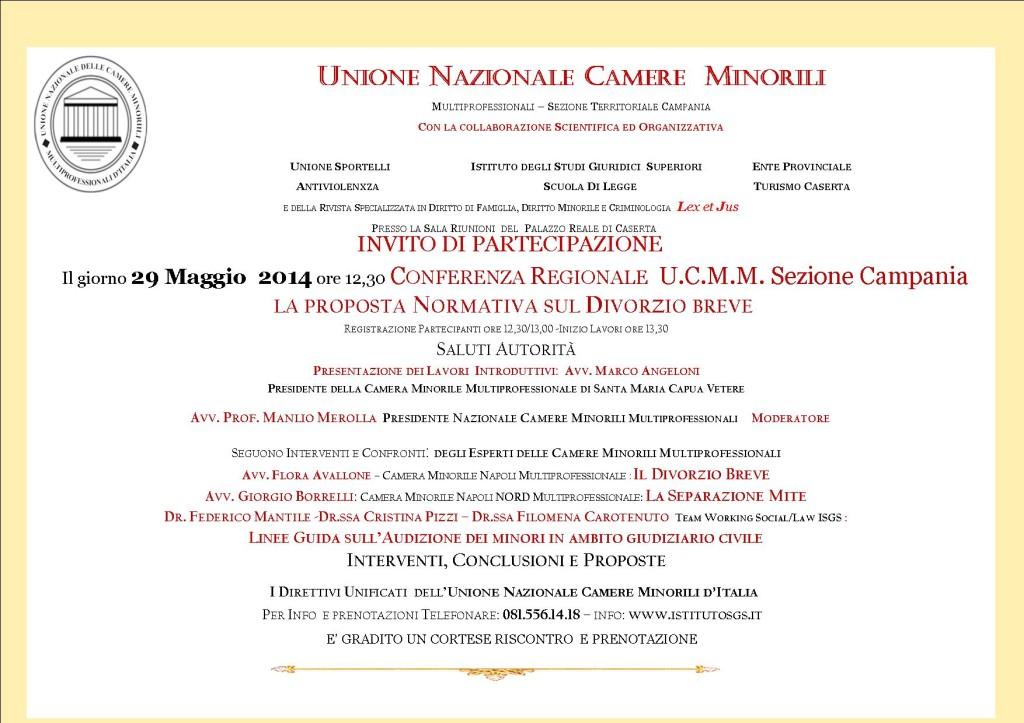 INVITO CONFERENZA REGIONALE UNIONE CAMERE MM SEZIONE CAMPANIA EVENTO 29 MAGGIO 2014 PALAZZO REALE CASERTA