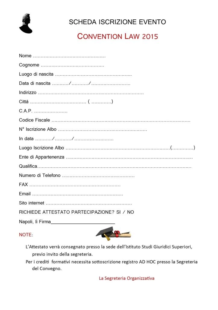 ISTANZA ISCRIZIONE PER PARTECIPAZIONE CONVENTION LAW 2015
