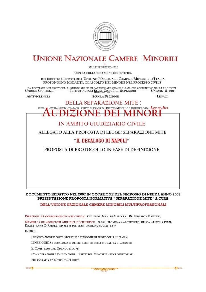 LINEE GUIDA AUDIZIONE MINORE IN AMBITO GIUDIZIARIO CIVILE DELL'UNIONE NAZIONALE CAMERE MINORILI MULTIPROFESSIONALI