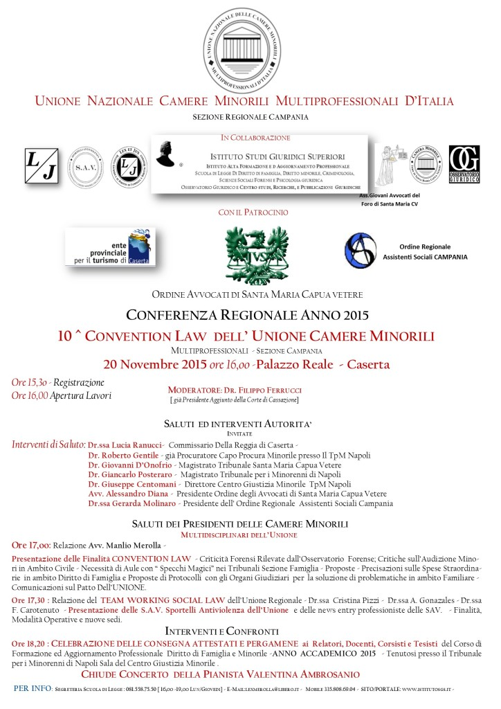 LOCANDINA CONVENTION LAW 2015 UNONE