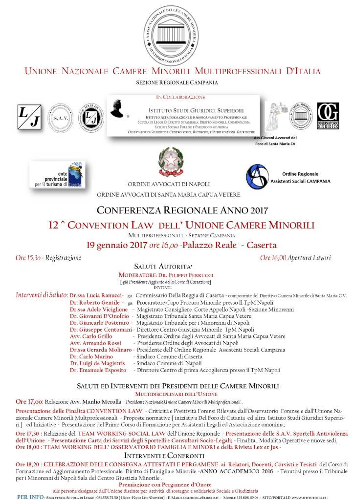 LOCANDINA CONVENTION LAW 2017 UNONE