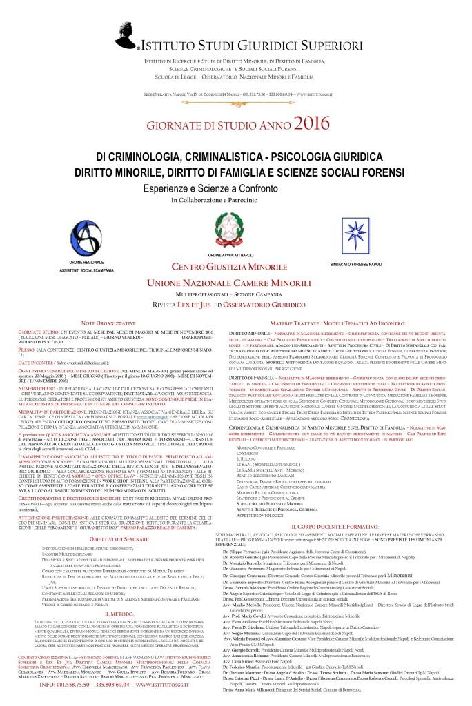 MANIFESTO  CORSI TPM NAPOLI ANNO 2016  DIRITTO DI FAMIGLIA- MINORILE E PSICOLOGIA GIURIDICA DEF