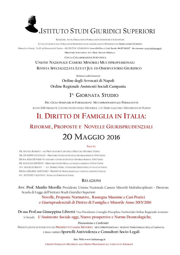 MANIFESTO I GIORNATA STUDIO CORSO TPM 2016 Diritto Famiglia e Minorile