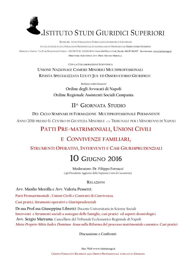 MANIFESTO II GIORNATA STUDIO CORSO TPM 2016 Diritto Famiglia e Minorile