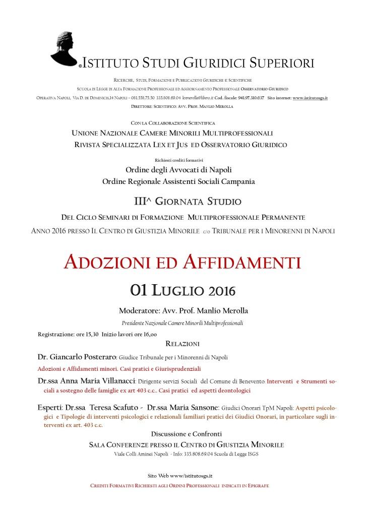 MANIFESTO III GIORNATA STUDIO CORSO TPM 2016 Diritto Famiglia e Minorile