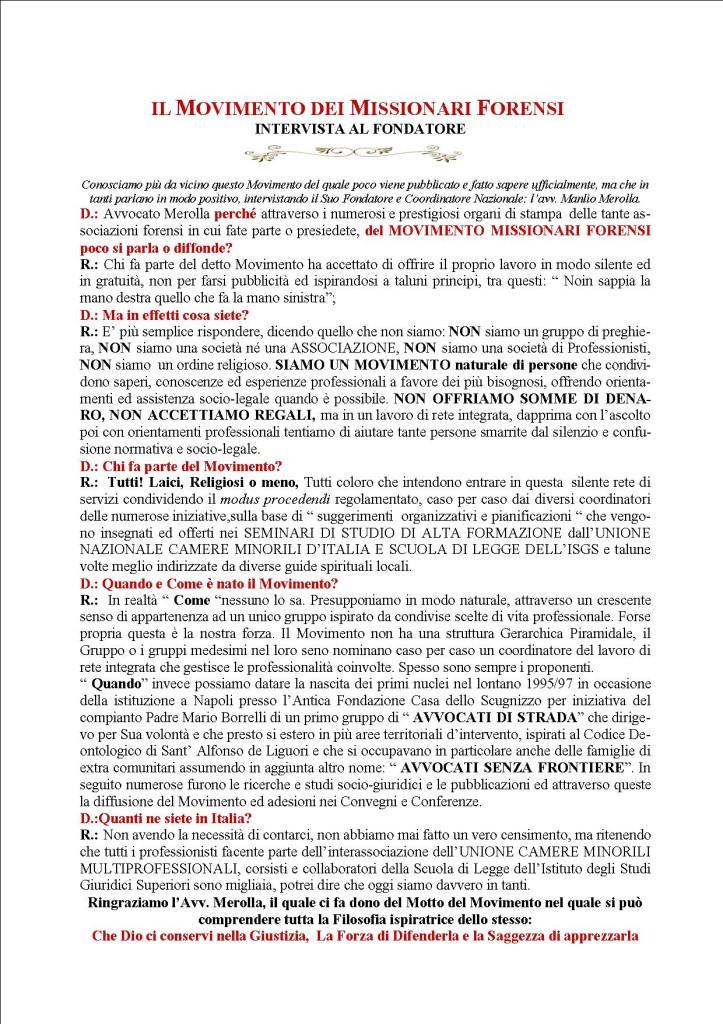 MOVIMENTO MISSIONARI FORENSI INTERVISTA AL FONDATORE