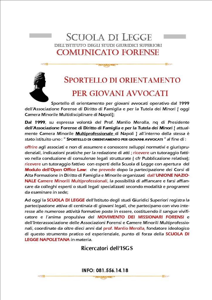 COMUNICATO FORENSE  SPORTELLO ORIENTAMENTO DELLA SCUOLA DI LEGGE PER GIOVANI AVVOCATI   OPEN OFFICE LAW