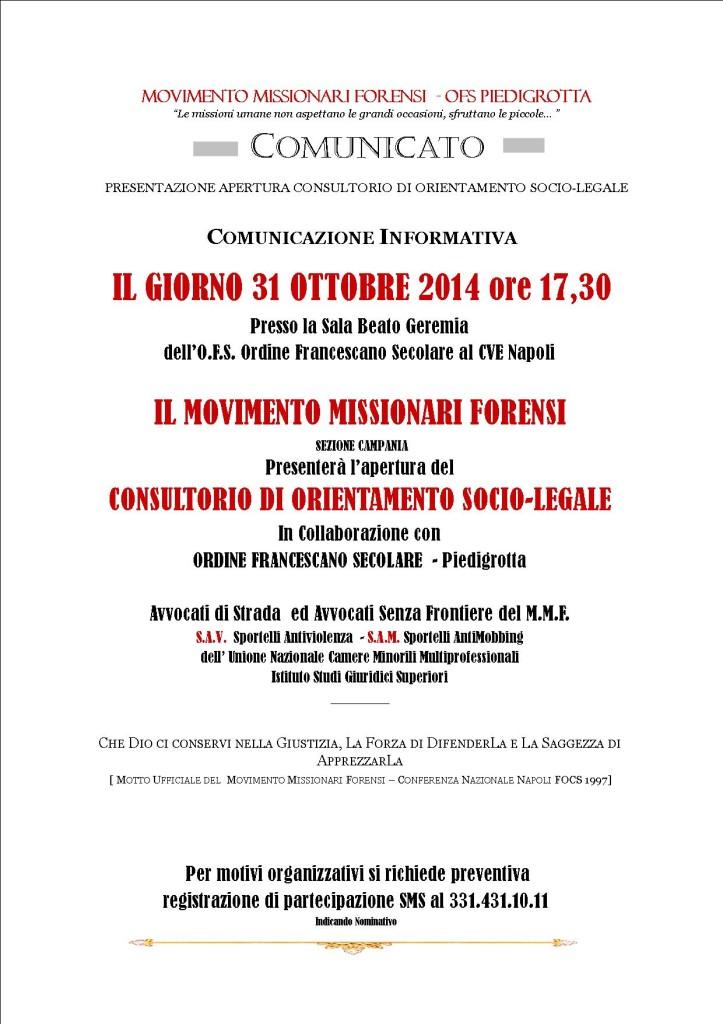 COMUNICATO MMF CONSULTORIO SOCIO-LEGALE CVE