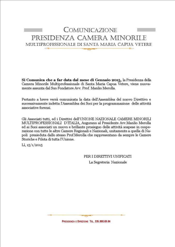COMUNICAZIONE  CAMERA MINORILE SANTA MARIA CAPUA VETERE  - PRESIDENZA
