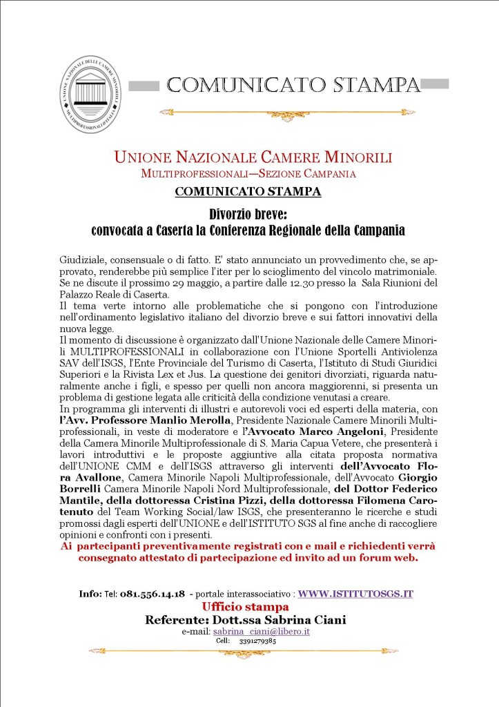 COMUNICAZIONE UNIONE NAZIONALE  CAMERE MINORILI MULTIPROFESSIONALI   COMUNICATO STAMPA