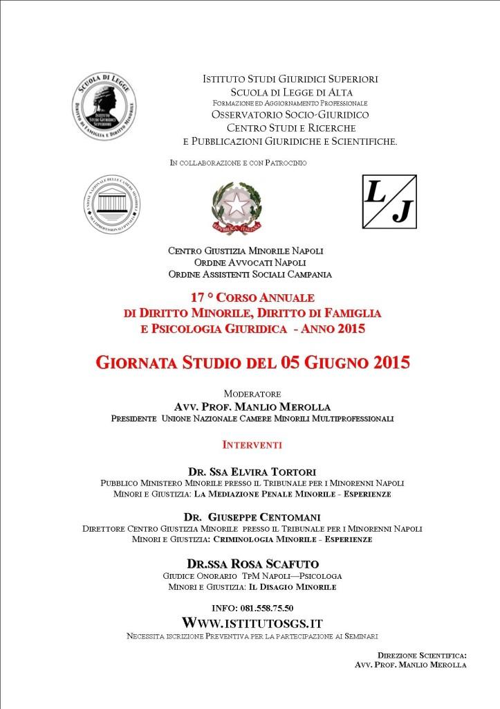 GIORNATA STUDIO 05 Giugno 2015 SCUOLA DI LEGGE