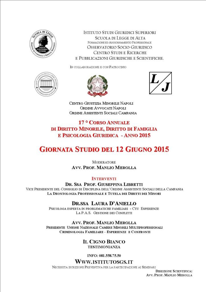 GIORNATA STUDIO 12 Giugno 2015 SCUOLA DI LEGGE