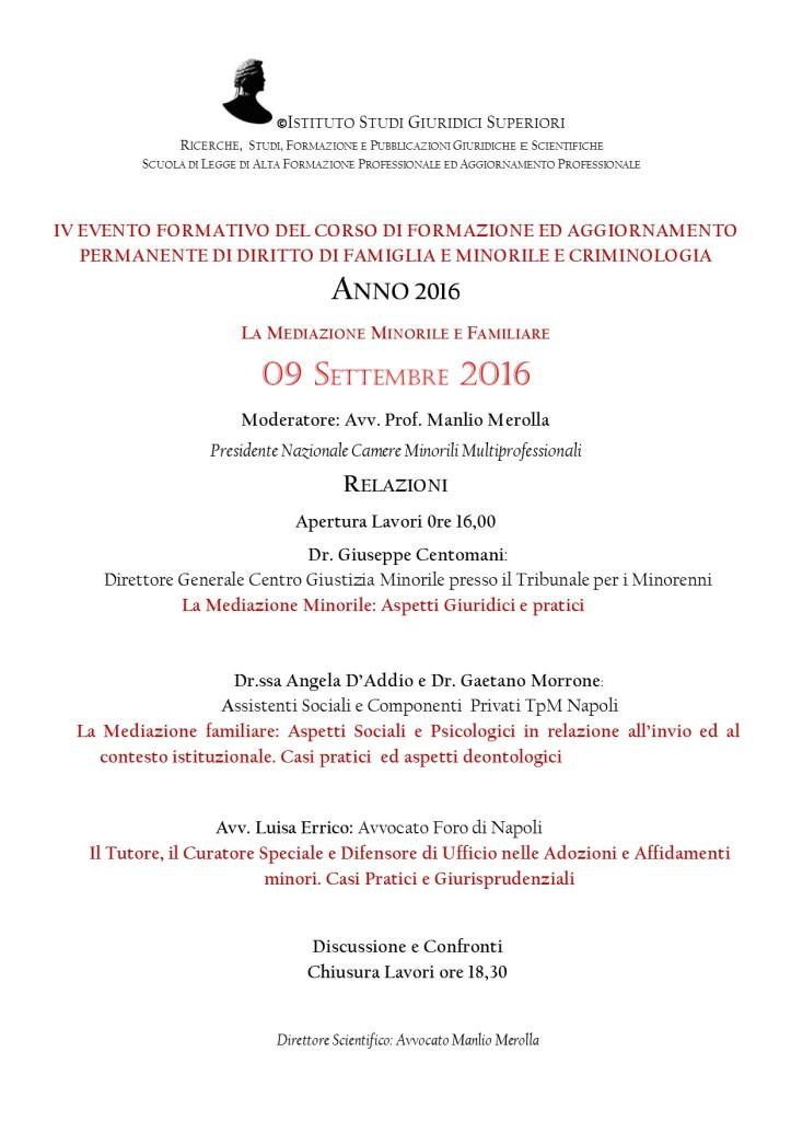 IV EVENTO FORMATIVO SETTEMBRE 2016 CORSO DFC SCUOLA DI LEGGE