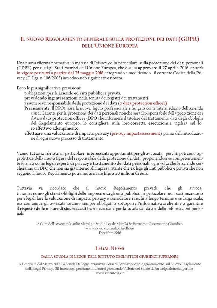 Il Nuovo Regolamento Legal Privacy - A Cura Avvocato Manlio Merolla - Osservatorio Giuridico