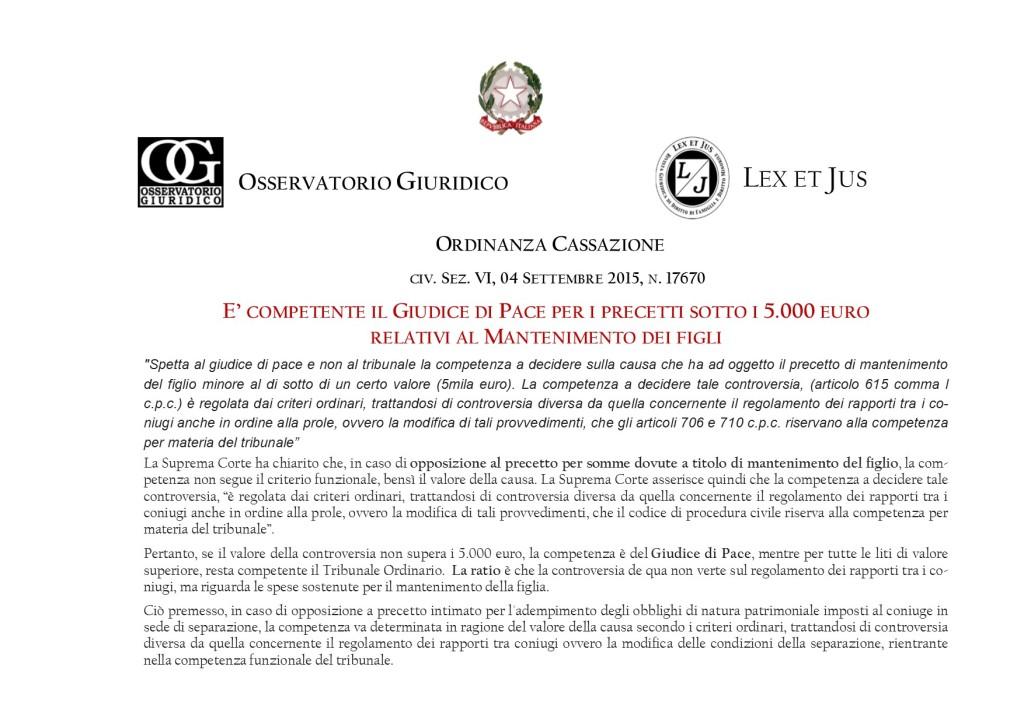 LEGAL NEWS OSSERVATORIO GIURIDICO.9 MINORI E FAMIGLIA - COMPETENZA GIUDICE  RECUPERO ASSEGNI MANTENIMENTO JUS