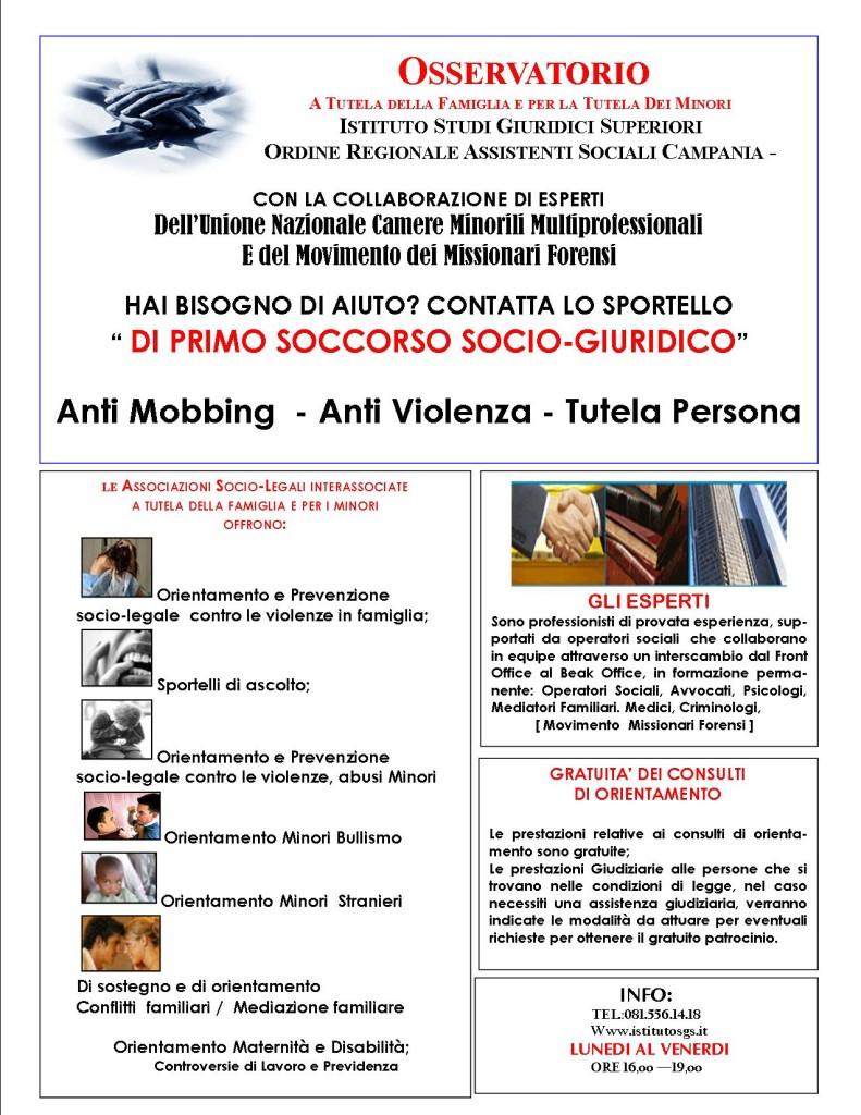LOCANDINA SPORTELLO ANTIVIOLENZA ISGS