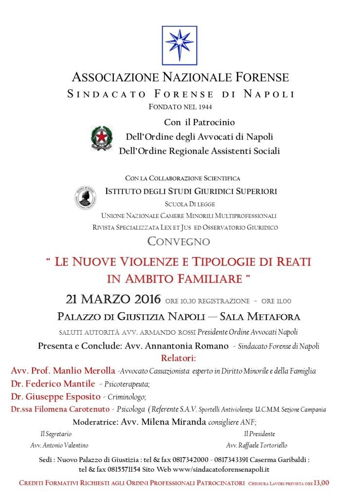 MANIFESTO CONVEGNO 21 Marzo 2016 TRIBUNALE NAPOLI