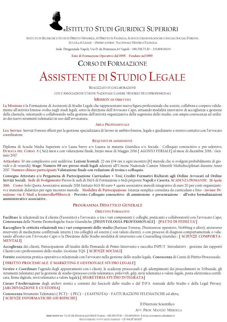MANIFESTO E PROGRAMMA CORSI ASSISTENTI LEGALI 2016