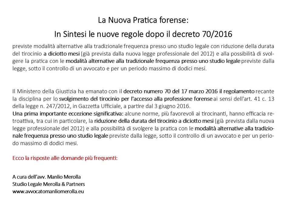 PRESENTAZIONE NUOVO TIROCINIO FORENSE - 80 Avvocato Manlio Merolla