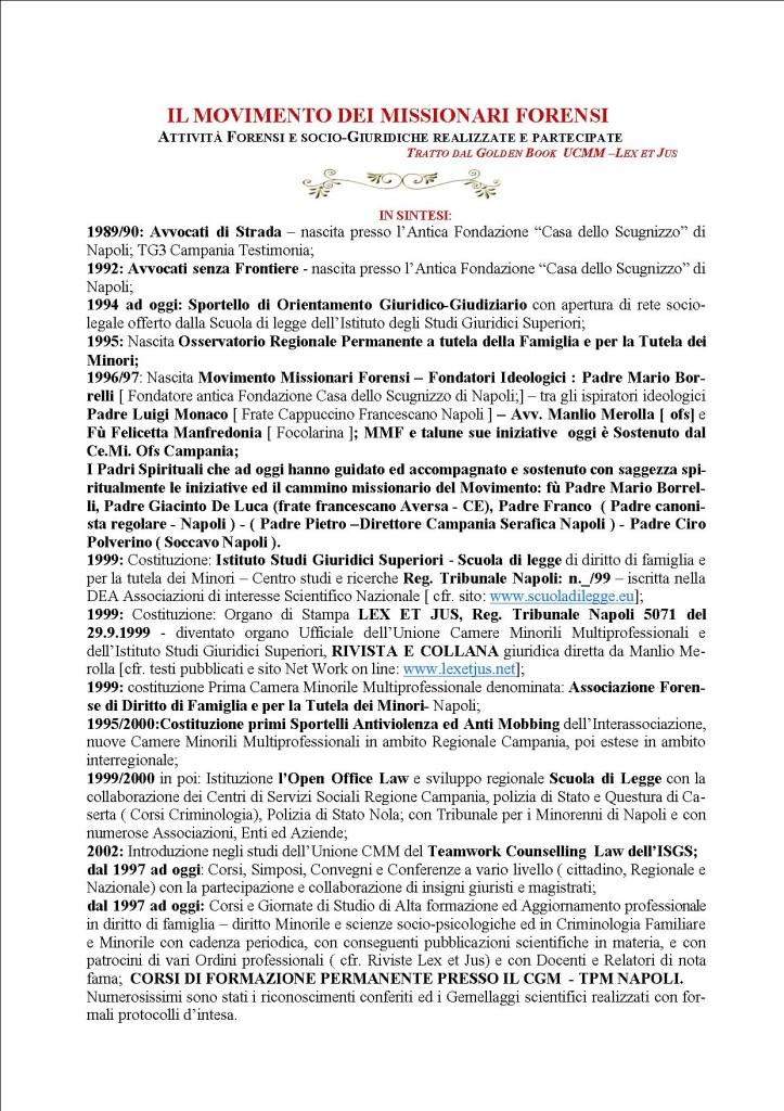STORIA IN DATE DELL' INTERASSOCIAZIONE E MOVIMENTO MISSIONARI FORENSI