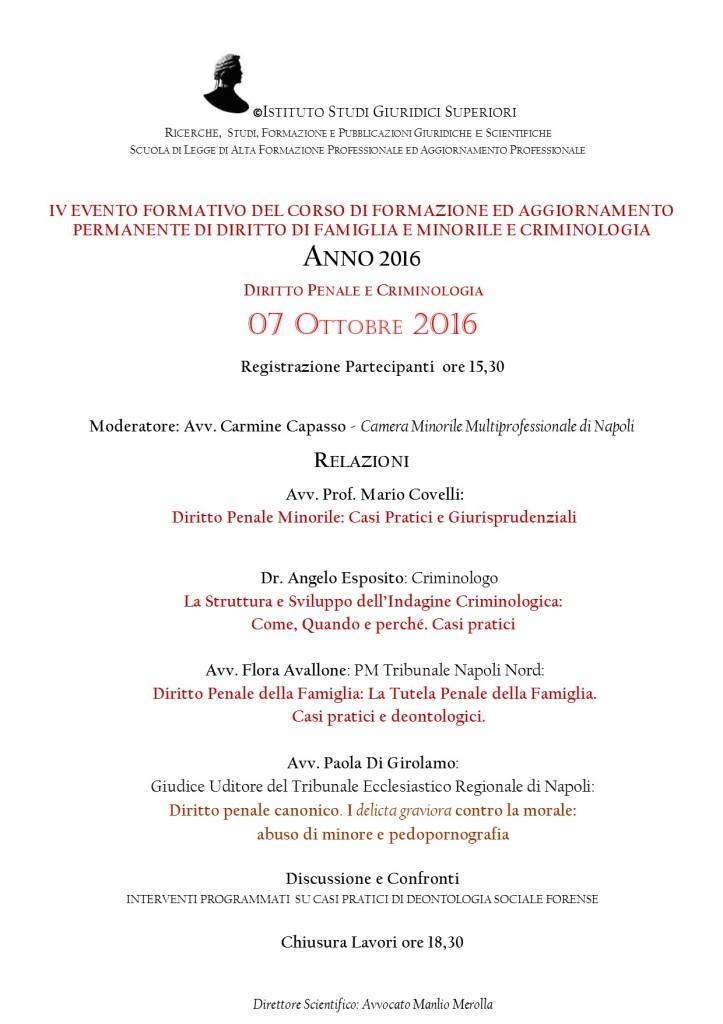 V EVENTO FORMATIVO SETTEMBRE 2016 CORSO DFC SCUOLA DI LEGGE