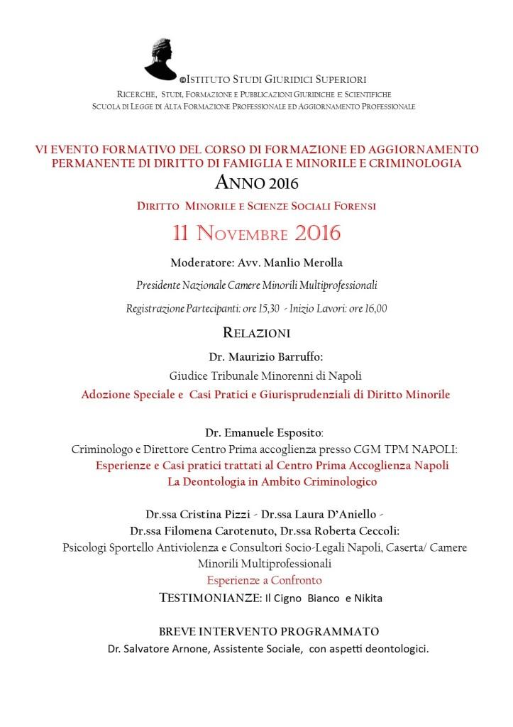 VI  EVENTO FORMATIVO TPM NOVEMBRE  2016 CORSO DFC SCUOLA DI LEGGE
